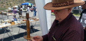 SWAP MEET VENDOR: Gary Hart sells calendars and collectible toys at the May 19 swap meet in the GCC parking lot C.