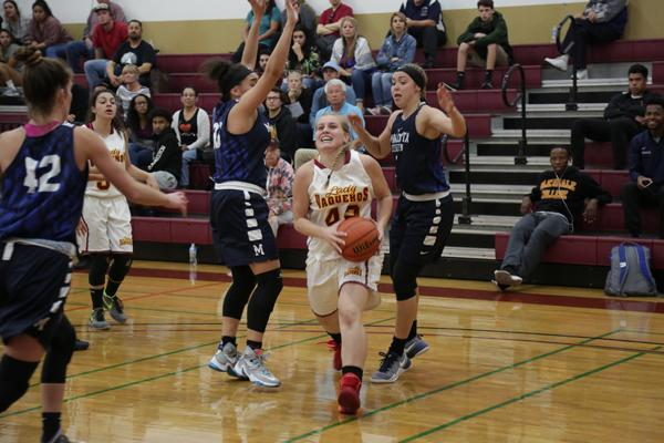 EASY TWO: Forward Brooke Radcliff runs for a lay-up between two MiraCosta players in the second game of the season.