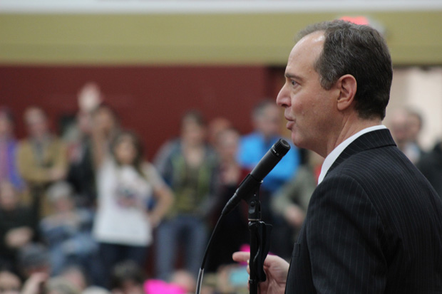 FULL+HOUSE%3A+Rep+Adam+Schiff+takes+questions+from+the+overflow+crowd+in+the+Verdugo+Gym+on+Feb.+24.+Schiff+came+to+campus+to+discuss+refugees.