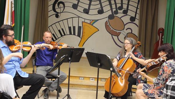 OUT OF THIS WORLD:  Kadima Quartet members Eric KM Clark and Brian Benning, violins, Lynn Angebranndt, cello and Beth Elliott, viola will perform at the planetarium this spring.