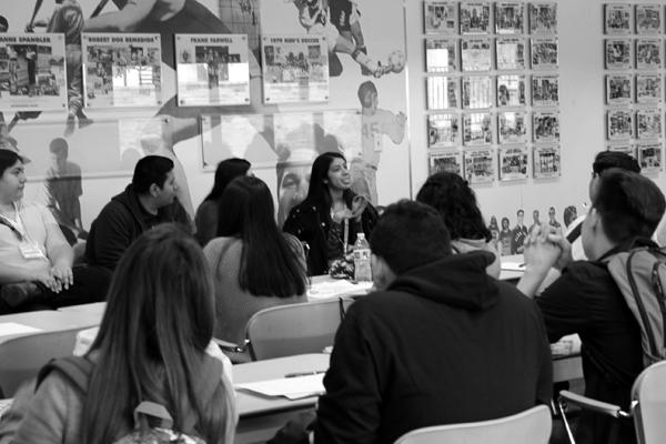 BRIGHT FUTURE: Student mentor Marilyn Favela leads a panel discussion with students from Los Angeles River High School on Tuesday.