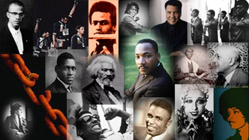 - Graphic by Yair TaylorSome distinguished African Americans are pictured above. Top row, from left: Malcolm X, John Carlos and Tommy Smith from the 1968 Olympics,  Huey Newton, James Brown, Muhammad Ali, and the Black Panthers. Second  row: Pa