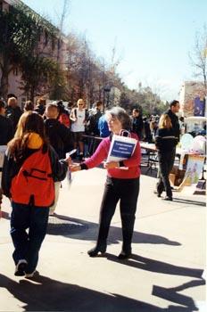 - Photo by Iain MortonRepresentatives stop students between classes.