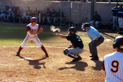 John Manuel takes a pitch during Wednesday's game.
