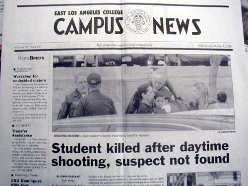 - Photo by Iain MortonThis obscured front-page photo prompted fears of retaliation for student witness.