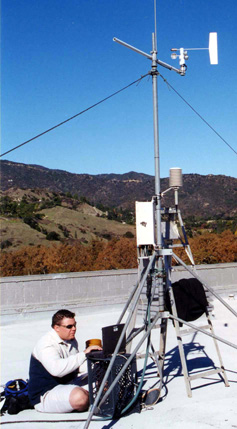 J.B.Wall sets up the weather station on the AA building.