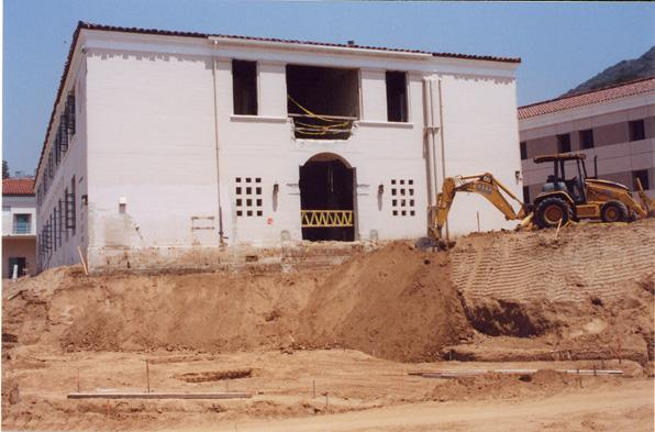 The old Physics Biology Building is being demolished as part of the new Cimmarusti Science Center Project.