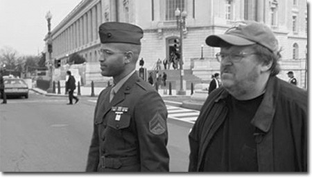 A disillusioned career soldier accompanies Michael Moore to the steps of the Capitol  in Fahrenheit 9/11.