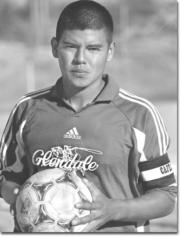 Photo by Cynthia Perry    Soccer team captain Jose Martinez has proven that size does not matter.