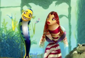 Oscar, voiced by Will Smith flirts with Lola, voiced by Angelina Jolie, in Dreamworks Shark Tale.
