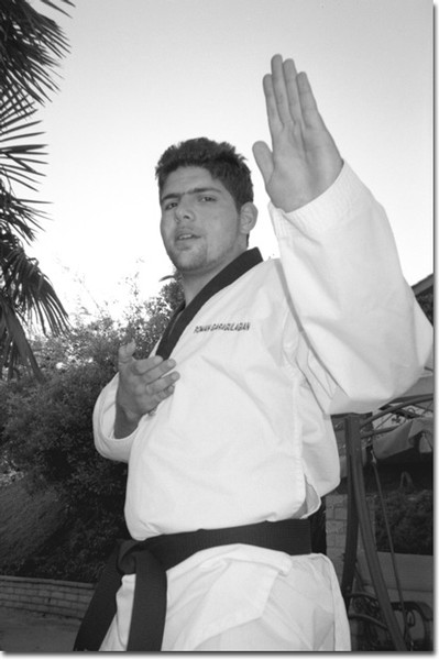 Photo by Cynthia Perry  Glendale College student Roman Gulagian has a black belt in the Korean martial art of Tai Kwan Do. Gulagian is an Armenian-Iranian student who lived in London and has recently moved to the United States.