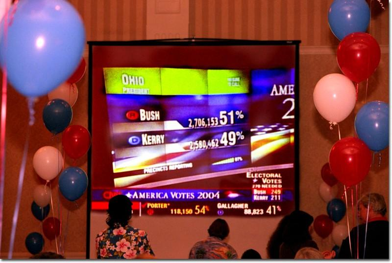 Photo by Jessica Hernandez  Democrats stay updated on the election results in Ohio at the Pasadena Hilton.
