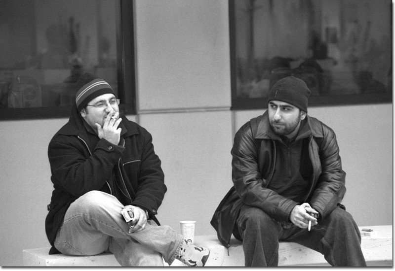 GCC students, Ernest Badounts, 24 and Aram Oyespian, 23, are examples of students that are prohibited to smoke near school buildings due to California law.