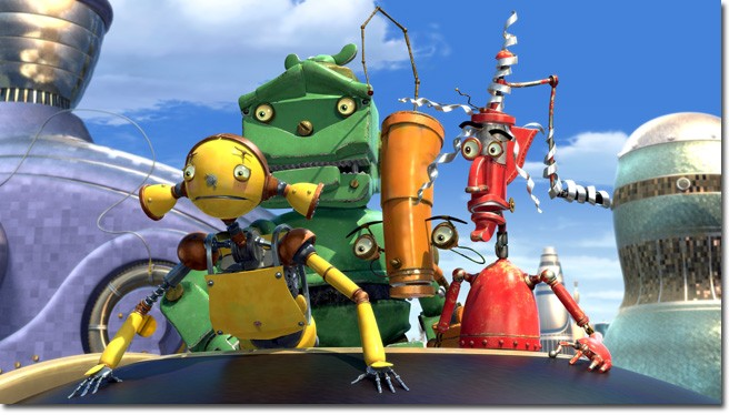 The Dusties, (left to right) Piper Pinwheeler, Lug, Crank Casey and Fender, react to some wild happenings in Robot City.