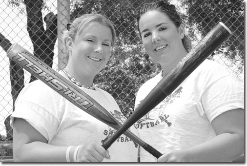 VAQUERO SOFTBALL SISTERS -- Joining together in the Vaquero softball team are two great sisters, Kristin, left, and Trista Carr, who are feared among the other softball teams.