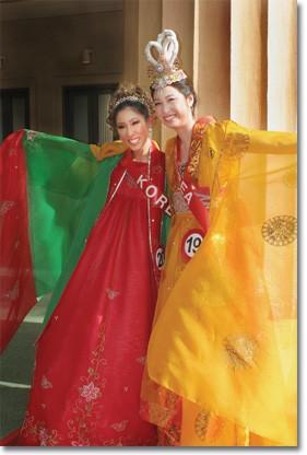 Nina Kim and Jennifer Chu, Miss USA Asia contestants representing Korea, show their native dresses.