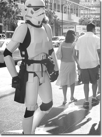 Photo by Elizabeth Linares A Stormtrooper eagerly awaits the final