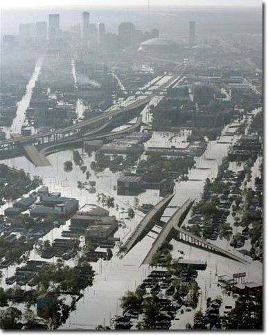 Flood waters fill the streets near downtown New Orleans on Aug. 30. Levee breaches are adding to the citys misery in the wake of Hurricane Katrina.