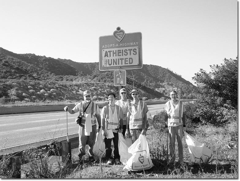 The Atheists United maintain the Glendale Freeway near the Mountain Avenue exit.