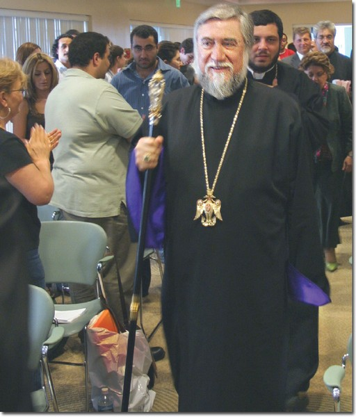 His Holiness, Aram I, the Catholicos of the Great House of Cilicia is greeted by a full house at the Student Center.