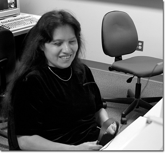 Gretchen Conejo is a visually-impaired student who uses a computer with screen reader software and a Braille keyboard.