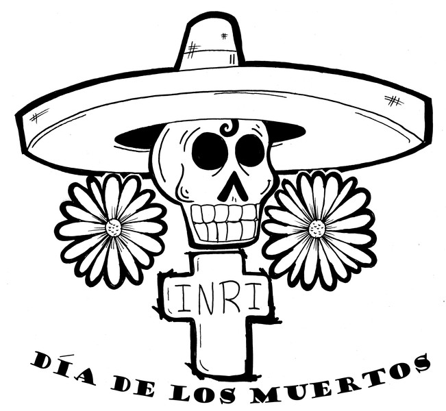 One of the most famous icons of Dia de Los Muertos is the skull or Death, and candy shaped skulls are exchanged by people as jokes. The skull, called a calavera, is used not only as an image of death, but in the celebrations and artwork of popular culture