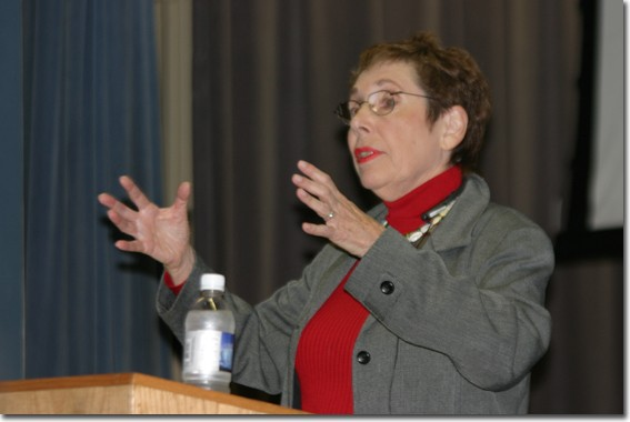 Author Norine Dresser explains international etiquette during a fun and informative lecture. Her new book tells how to be respectful of all cultures.