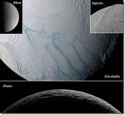 This montage shows four major icy moons of Saturn that the Cassini spacecraft visited while surveying the Saturnian system during 2005. Even though all of these bodies are made largely of ice, they exhibit remarkably different geological histories and var