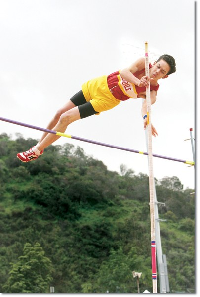 Carl Adams won second place in the pole vault at 12 feet, 6 inches.