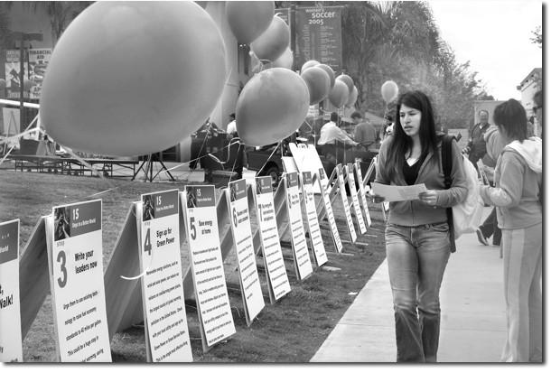 Carla Armendriz, a nursing student, participates in Earth Day events in Plaza Vaquero.