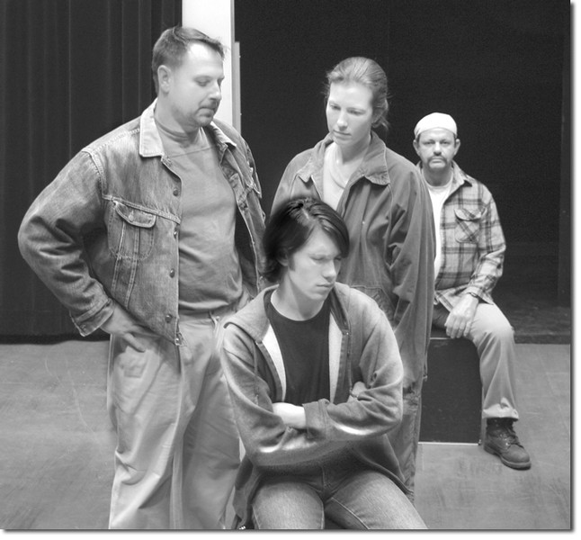Ryan, front, played by Carlo Morelli, and his parents Roger,