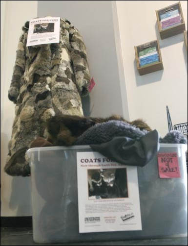 As part of the store's national charity drive, Coats for Cubs, shoppers are encouraged to bring in real and faux fur. After Earth Day, the furs will be donated to the Humane Society of the United States to be used as bedding material for injured wildlif