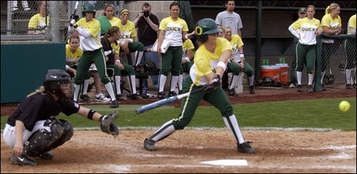 Oregon shortstop Breanne Sabol swings at a pitch against Portland State on April 12. Sabol, who leads the Ducks in batting average at .356, and Oregon faced No. 14 Washington on Saturday in Seattle.
