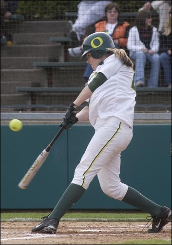 Kristi Jorgensen went to bat twice against Oregon State on April 4. The Ducks played two games at No. 1 UCLA this weekend after a game at No. 14 Washington on Saturday.
