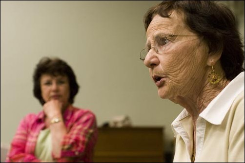 Eline Hoektra, a Holocaust survivor, and her daughter, Deb Mrowka, spoke Monday to a crowd of about 40 in PLC 180.