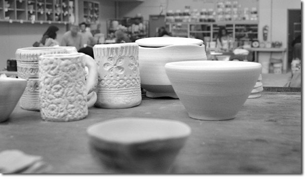 These items waiting to be fired are representative of the more than 1,000 pieces of student and faculty work for sale.