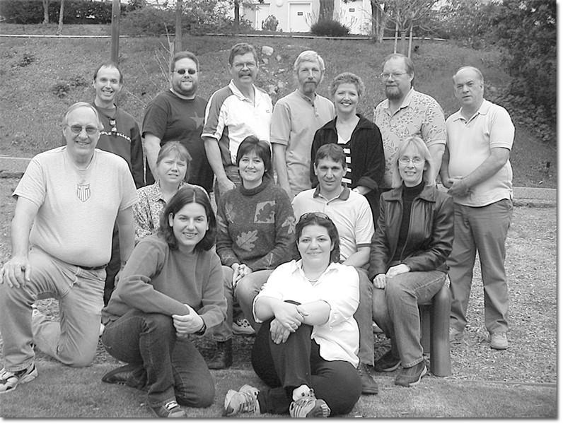 Math instructers from left to right: Gary Massion, Mike Allen, Steve Marsden, Bill Shamhart, Lynn Pomeroy, Andy Young, David Jones, Pete Witt, Deirdre Collins, Liz Russell, Peter Stathis, Kathleen Holmes, Yvette Hassakoursian