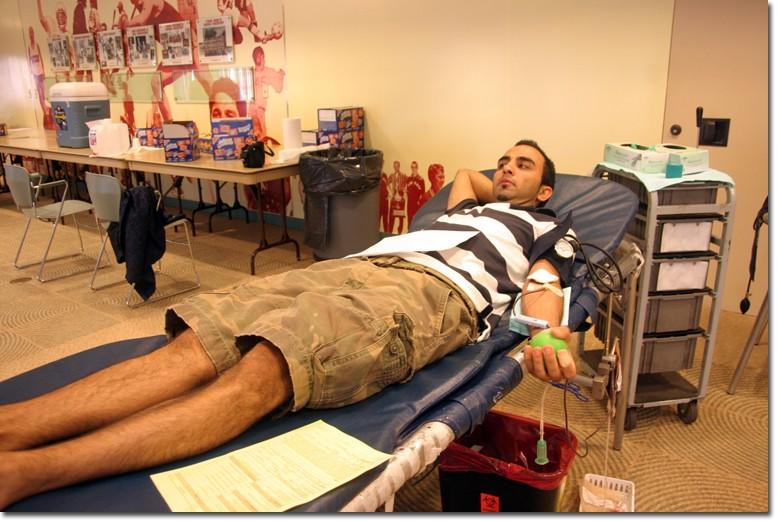 Loudvik Avanesian, an accounting major, takes time to donate blood on Sept. 12. Avanesian says he donates blood every month.