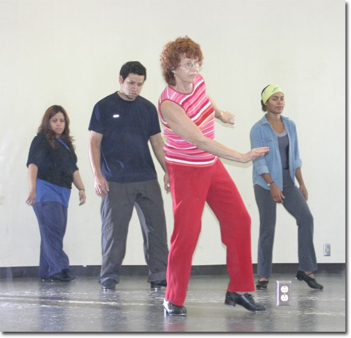 Patti Cox leads students in tap class. She has been teaching dance at the college since 1981.