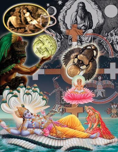 Every religion incorporates a myth of how the world was created. This illustration depicts the creation myths of Hindism, Navaho, Aztec, Egyptian, Christian, Aboriginal, Jewish and Islam.