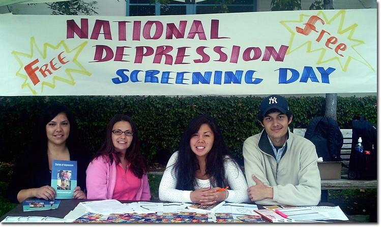 Psychology Club president Sandra Ramos, vice president Erika Ramirez and members Christina Liang and Jason Saboury promote awareness of depression.
