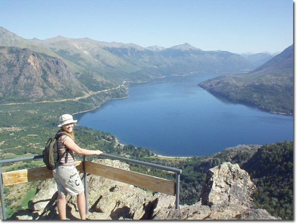 A student overlooks one of the lakes that typify the region around Bariloche, Argentina.
