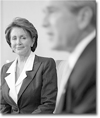 Nancy Pelosi, the unanimously chosen Speaker of the House, and President George W. Bush: adversaries or allies?