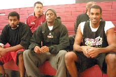 Vaquero basketball players Jamar Eubanks, Anthony Phillips, Robert Cotton, Assistant Coach Conrad Amba and Head Coach Brian Beauchemin check out the competition at the Vaquero Classic held on campus.