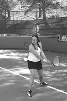 Jennifer Chung warms up before a match against Ventura Community College on Tuesday.