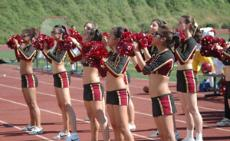 The GCC Spirit Squad gives the crowd at sports events a boost of energy and enthusiasm with their cheers.