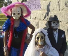 These little ghouls were at a loss for Halloween plans until they joined the Dia de Los Muertos party at the Hollywood Forever Cemetery.