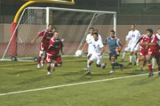 Vaqueros Andre Vorster, left, chases down a loose ball after a missed opportunity on the corner kick.