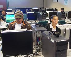 Michael Bernal and Claudia Alvarenga in the Developmental Skills lab at the Garfield campus. Same campus doesnt necessarily mean same classes, but some of these families are meeting that challenge.