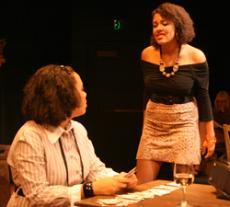 Linda Rotunda (Lauren Hamrick) confronts Denise Savage (Meagon Ligons) over Savages'  attempts to sabatoge her romantic relationship.